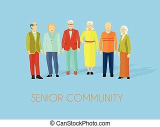 lakás, csoport, emberek, poszter, közösség, idősebb ember