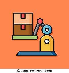 lakás, daru, munkaszervezési, ikon