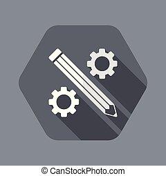 lakás, dolgozó, -, kreatív, vektor, ikon