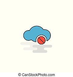 lakás, dolgozó, vektor, nem, icon., felhő
