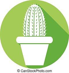 lakás, edény, kaktusz, ikon