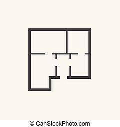 lakás, egyszerű, épület, ábra, háttér., vektor, terv, icon., fehér