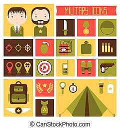 lakás, elements., ikonok, set., hadsereg, ábra, háború,...