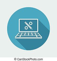 lakás, eljárás, -, kreatív, vektor, digitális, ikon