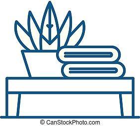 lakás, fürdőszoba, illustration., aláír, concept., jelkép, vektor, asztal, egyenes, ikon, áttekintés