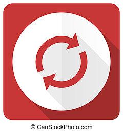 lakás, felfrissít, aláír, reload, piros, ikon