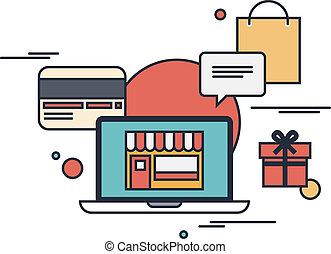 lakás, fogalom, bevásárlás, ábra, online