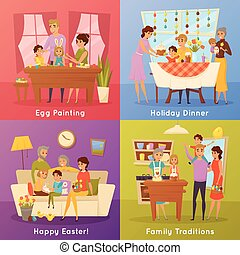 lakás, fogalom, család, ikonok, 4, húsvét