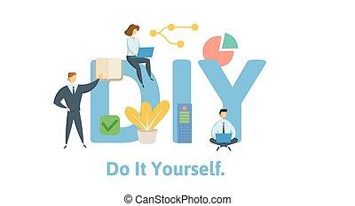 lakás, fogalom, illustration., diy, irodalomtudomány, azt, ...
