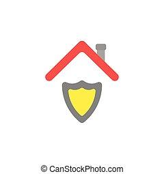 lakás, fogalom, pajzs, tető, őr, vektor, tervezés, alatt