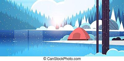 lakás, fogalom, tél, kempingezés, terület, dombok, táborhely, természet, szünidő, hóesés, tábor, víz, napkelte, hegyek, erdő, háttér, horizontális, folyó, utazás, táj, sátor