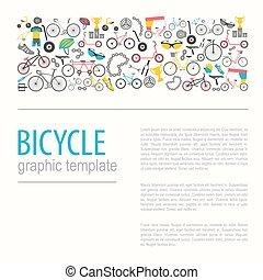 lakás, grafikus, bicikli, ábra, vektor, tervezés, types., bicikli, design.