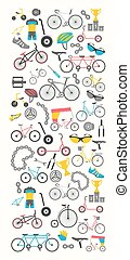 lakás, grafikus, bicikli, ábra, vektor, tervezés, types., bicikli, transzparens, design.