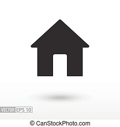 lakás, háló, mozgatható, épület, house., aláír, vektor, infographics, jel, icon., tervezés