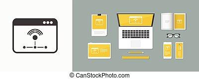 lakás, hálózat, dolgozó, -, vektor, minimális, ikon