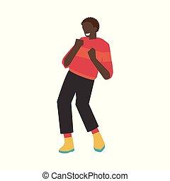 lakás, hím, tánc, betű, fiatal, ábra, vektor, afrikai, fun., birtoklás, ember