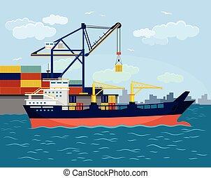 lakás, hajó, vektor, rév, ábra