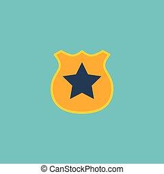 lakás, ikon, rendőrség jelvény, element., vektor, ábra, közül, lakás, ikon, tiszt, embléma, elszigetelt, képben látható, kitakarít, háttér., konzerv, lenni, használt, mint, rendőrség, jelvény, és, embléma, symbols.