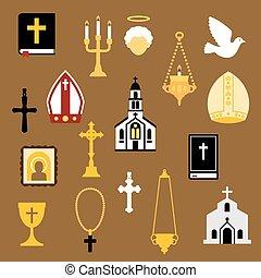 lakás, ikonok, keresztény, vallásos, katolikus