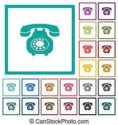 lakás, ikonok, szín, szüret, telefon, négyszög, retro, keret