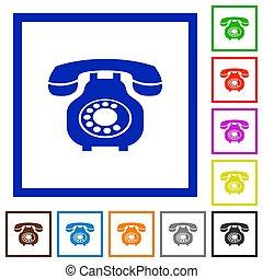 lakás, ikonok, szüret, telefon, keretezett, retro