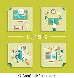 lakás, ikonok, vektor, tervezés, online tanítás