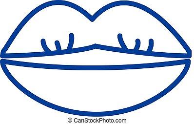 lakás, illustration., aláír, concept., jelkép, ajkak, vektor, csókolózás, egyenes, ikon, áttekintés