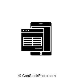 lakás, illustration., aláír, concept., jelkép, vektor, fekete, asztal, elektronikus, ikon