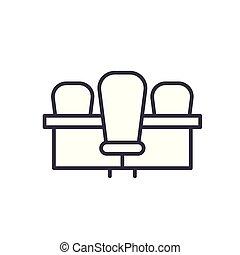 lakás, illustration., aláír, concept., jelkép, vektor, fekete, asztal, gyűlés, ikon
