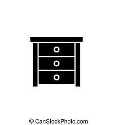 lakás, illustration., aláír, concept., jelkép, vektor, fekete, asztal, lejtő, ikon