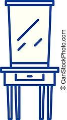 lakás, illustration., aláír, concept., jelkép, vektor, ruha asztal, egyenes, ikon, áttekintés