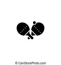lakás, illustration., aláír, concept., tenisz, jelkép, vektor, fekete, asztal, ikon