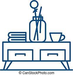 lakás, illustration., aláír, tea, concept., jelkép, vektor, asztal, egyenes, ikon, áttekintés