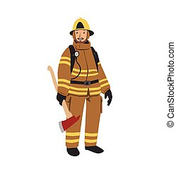 lakás, illustration., betű, tűzoltó, elszigetelt, háttér., vektor, axe., fehér