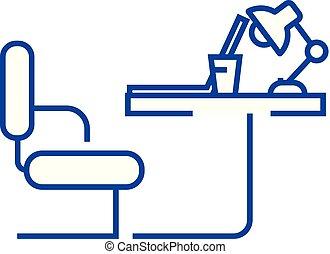 lakás, illustration., hivatal, aláír, concept., jelkép, vektor, asztal, egyenes, ikon, áttekintés