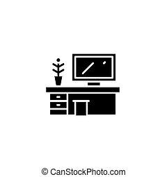 lakás, illustration., hivatal, aláír, concept., jelkép, vektor, fekete, asztal, ikon
