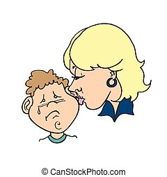 lakás, illustration., neki, anyák, vektor, anyu, csókolózás, nap, child., boldog