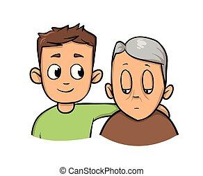 lakás, illustration., szürke haired, munkás, fiatal, elszigetelt, ételadag, idősebb, vektor, háttér., birtok, társadalmi, idősebb ember, fehér, man., ember