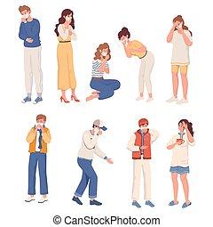 lakás, influenza, tünetek, vagy, vektor, coronavirus, illustration., covid-19, betegség, concept.