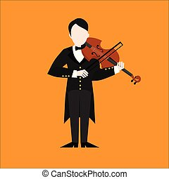 lakás, instruments., betű, játék, hegedűművész, játékos, ember, hegedű, music., zenés, musican
