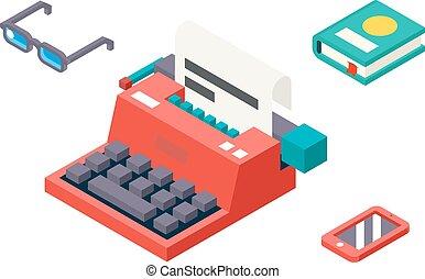 lakás, isometric, ív, szüret, jelkép, kreativitás, 3, ábra, dolgozat, vektor, tervezés, retro, sablon, írógép, ikon
