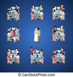 lakás, isometric, igazságos, párosít, házas, ábra, dance., misét celebráló, vektor, megvendégel, esküvő, először, tables., ceremony., 3
