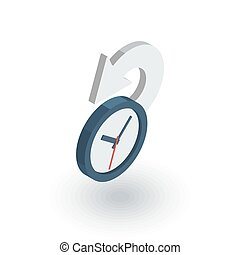 lakás, isometric, történelem, múlt, vektor, idő, icon., 3