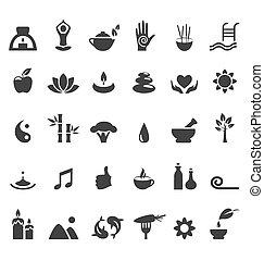 lakás, jóga, ikonok, zen, elszigetelt, ásványvízforrás, fehér