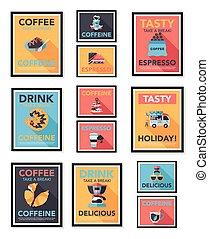 lakás, kávécserje, eps10, állhatatos, poszter, tervezés, ...