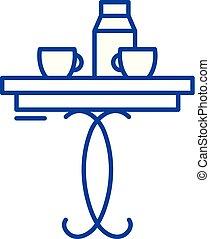 lakás, kávécserje, illustration., aláír, concept., jelkép, vektor, asztal, egyenes, ikon, áttekintés
