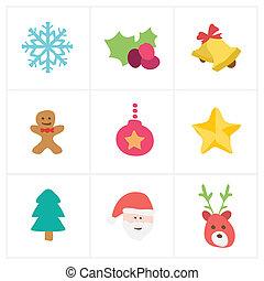 lakás, karácsony, ikon