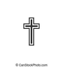 lakás, keresztény, ábra, kereszt, vallás, vektor, icon., design.