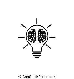 lakás, kreatív, vektor, mód, gondolkodó, ikon