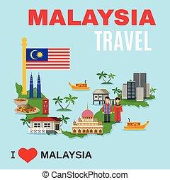 lakás, kultúra, poszter, utazás ügynökség, malaysia